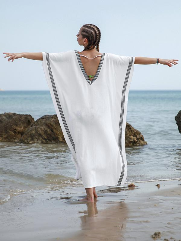 Loose Plus Size V-neck Beach Cover-ups