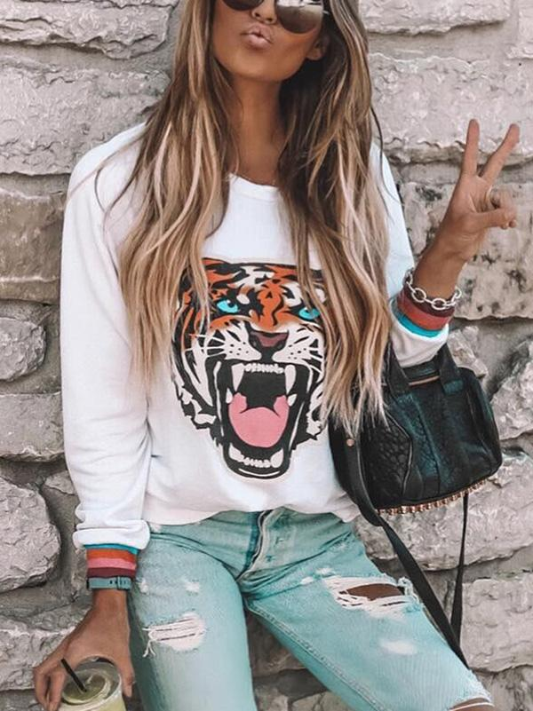 Long Sleeves Printed Blouse&shirt Tops
