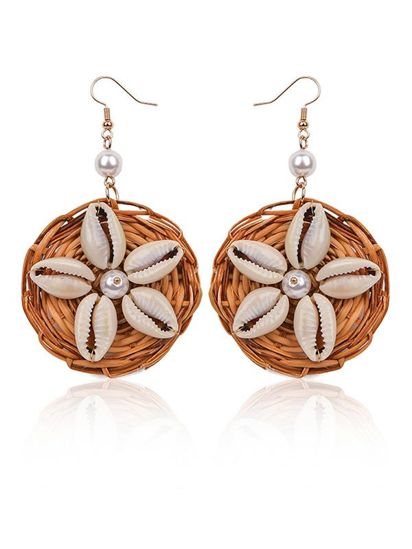 Shell Nature Fiber Handcraft Pearl Earring Accessories