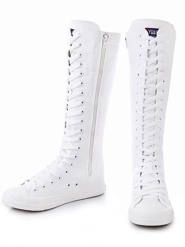 Casual High-top Side Zipper Mid high Canvas Boots