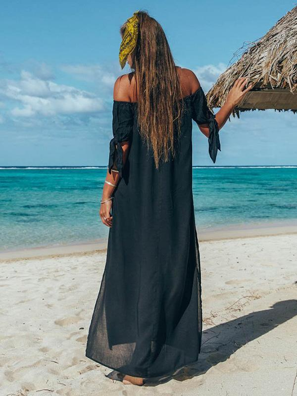 Off Shoulder Split-side Solid Beach Maxi Dresses