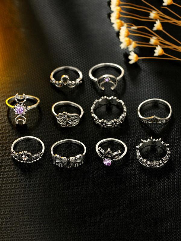 10pcs Vintage Hollow Rings Accessories