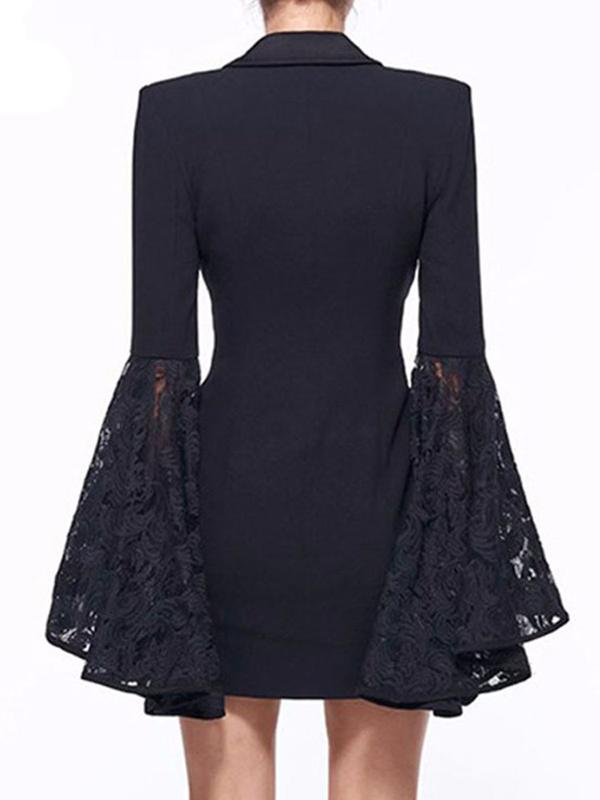 Double Breasted Lace Flare Sleeves Blazer Dresses