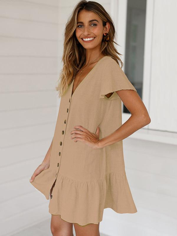Simple Falbala Hem V-neck Mini Dress