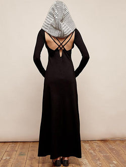 Hooded Backless Long Sleeves Maxi Dress
