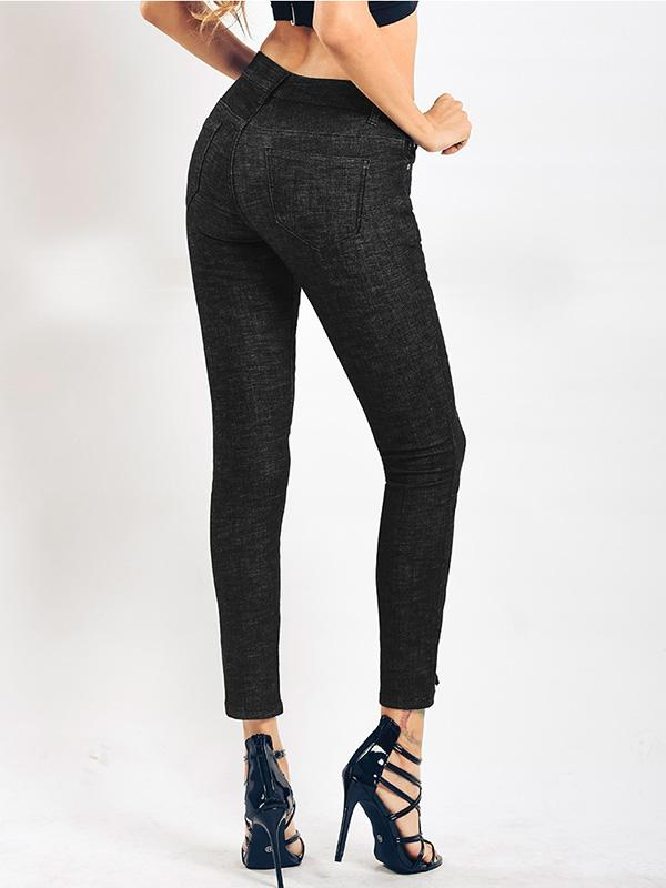 Black Elastic Jeans Pants Bottoms