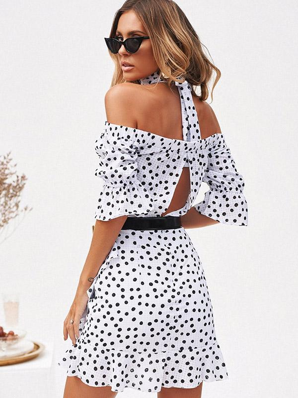 Off-the-shoulder Polka-dot Mini Dress
