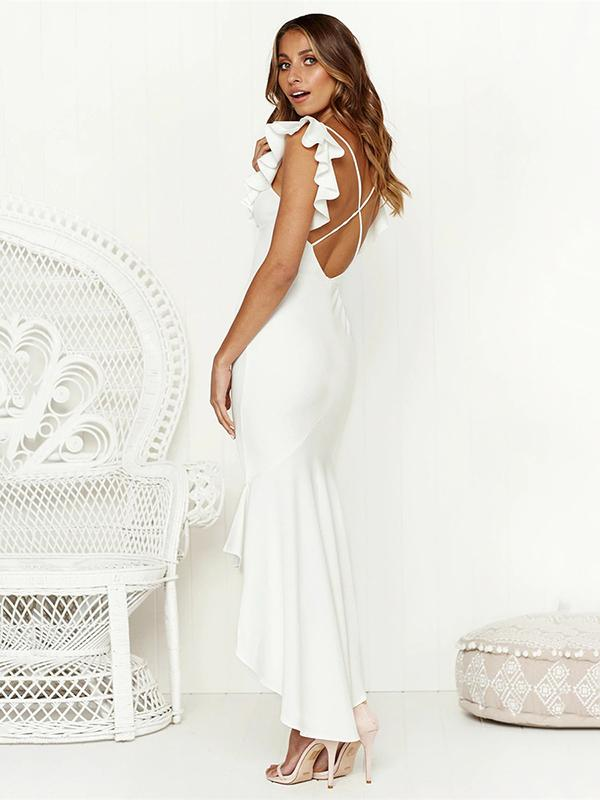 V-neck Falbala Backless Bohemia Midi Dresses