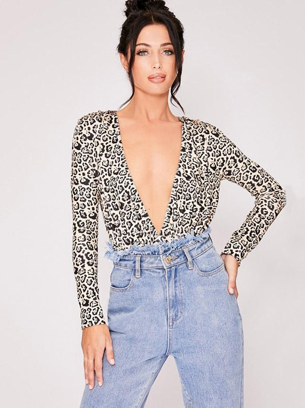 Fashion Deep V-neck Leopard Jumpsuits