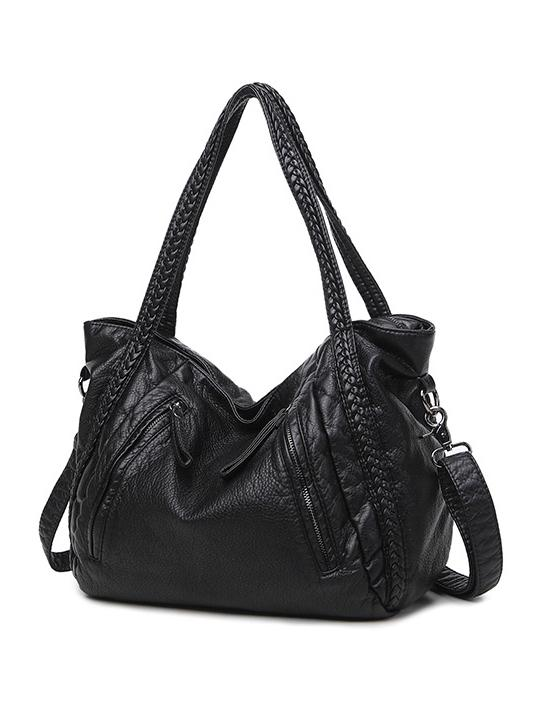 Black Zipper Single Shoulder Bag Tote Bag