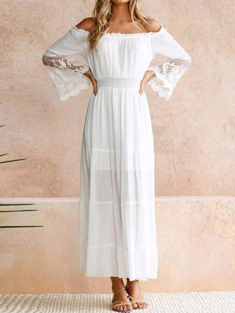 White Long Strapless Long Sleeve Loose Off Shoulder Lace Boho Cotton Beach Sundress Maxi Dress