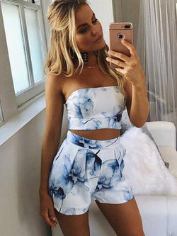 25 Styles Floral Print Chiffon Playsuit Off Shoulder Halter Sleeveless Boho Beach Party Rompers Jumpsuit