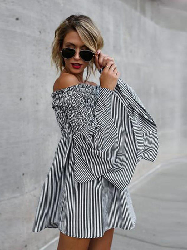 Womens Holiday Off Shoulder Stripe Party Ladies Dress Long Sleeve Boho Dress