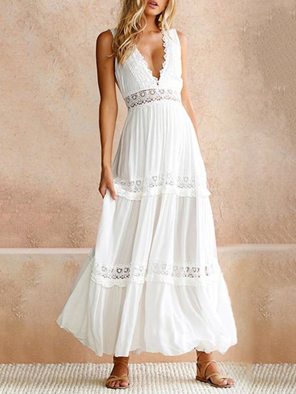 Summer White Deep V Elegant Lace Backless Hollow Out Long Maxi Dresses