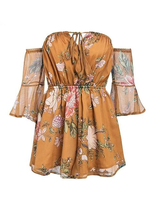 Summer Off Shoulder Lace Up Big Flare Sleeve Beach Party Playsuits Romper Jumpsuits
