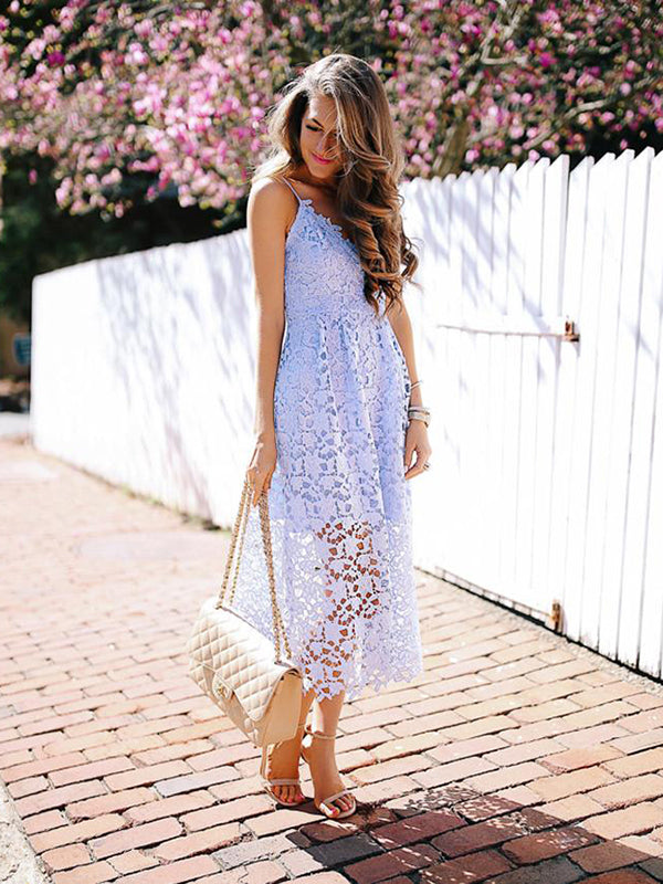 Summer Women Flower Lace Mid-Calf Sleeveless Blue&Black Boho Beach Party Dresses