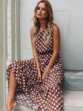Summer Chiffon Elastic Waist Polka Dot Elegant Long Boho Beach Party Maxi Dress Vestidos