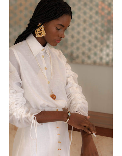Ruched White Linen Top with Ranglan Sleeves
