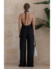 Jumpsuit Largo Negro con Cordon