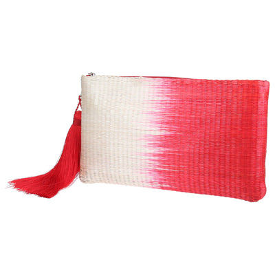 Raffia Red Clutch