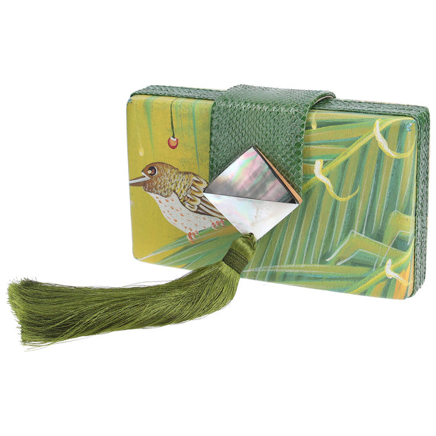 Canvas Clutch With Shell Brooch And Tassel