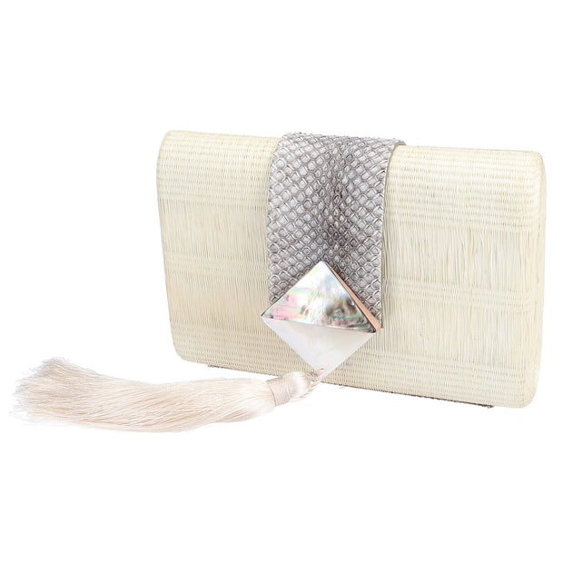 Mother of Pearl Raffia Clutch