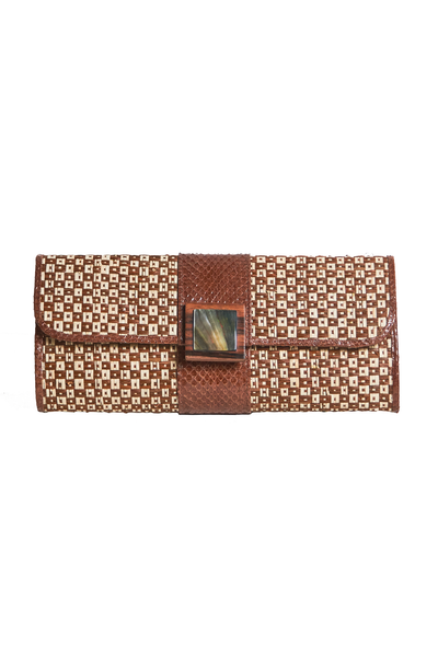 Brown Raffia Clutch