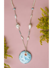 LARIMAR large medal with baroque pearls