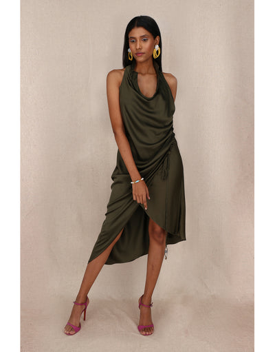 Maria Short Charmeuse Dress Olive Green