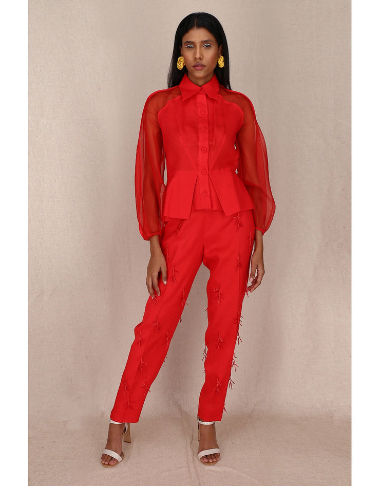 AQUAM Bishop red organza Sleeve Shirt