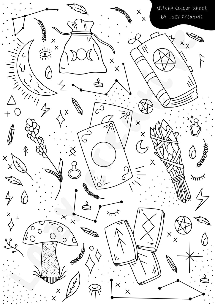 FREE Witchy Colouring Page - Lazy Creative