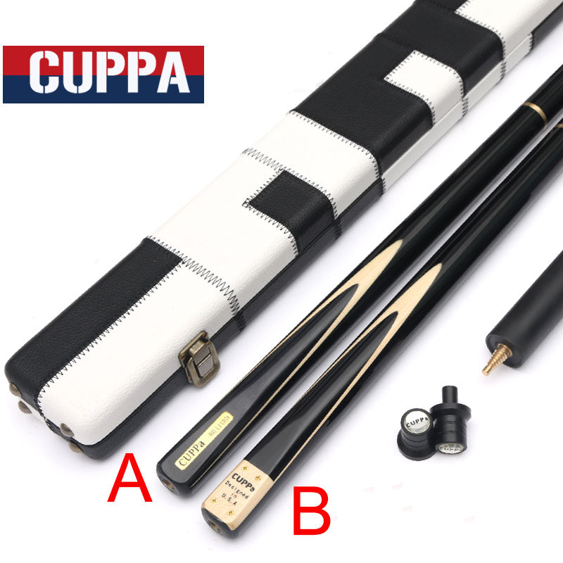 Cuppa Handmade 3/4 Snooker Cue Case Set A/B Type Snooker Cues 9.8mm Bright Paint Cracking Prevention Maple Shaft China