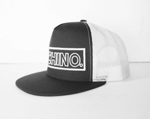 Cochino Flat Brim Hat with Large Logo - In Grey and White