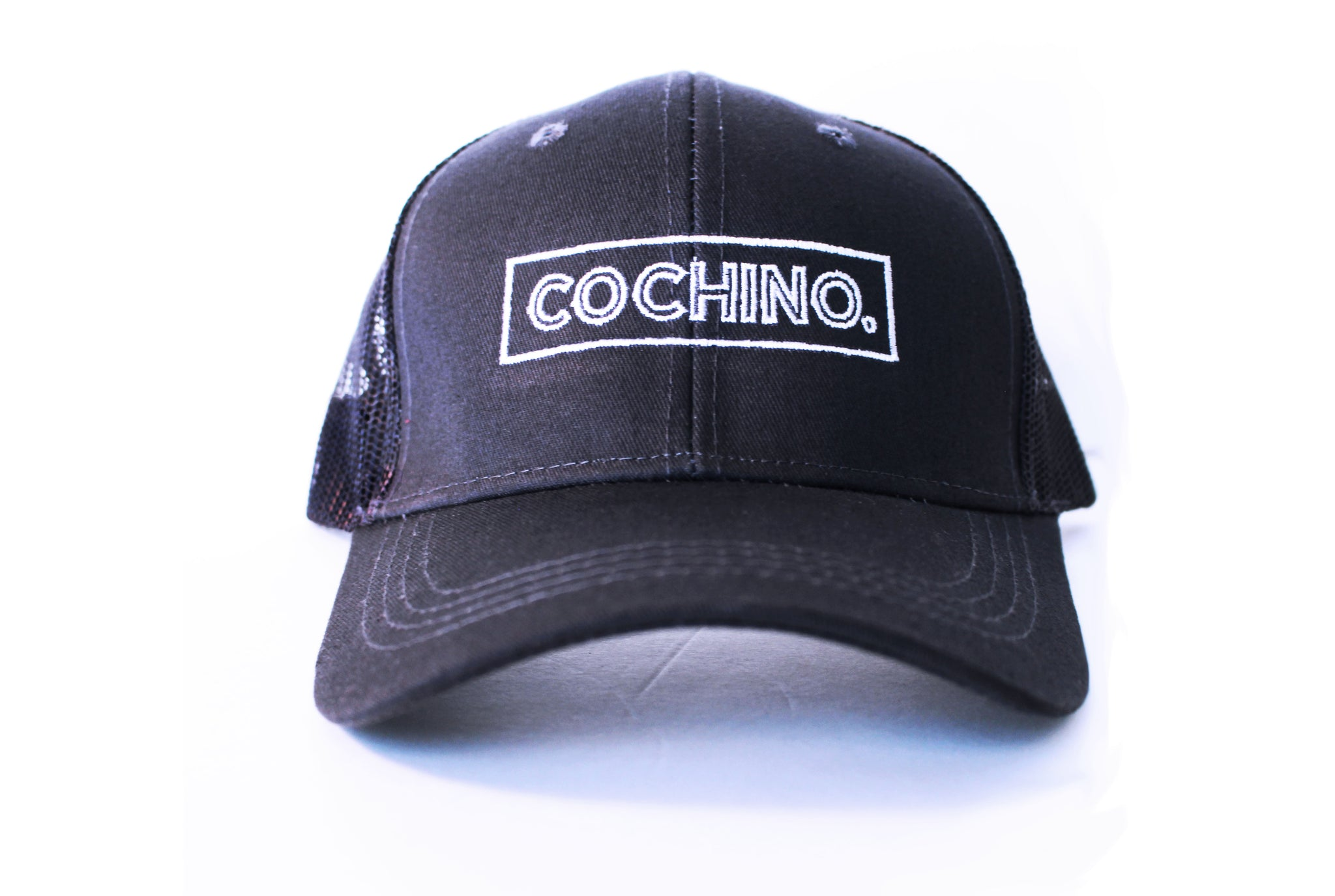 Cochino Curved Brim Hat with Small Logo - in Black