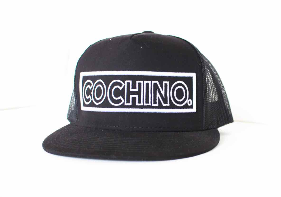 Cochino Flat Brim Hat with Large Logo - in Black