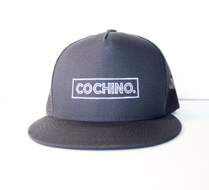 Cochino Flat Brim Hat with Small Logo - in Grey