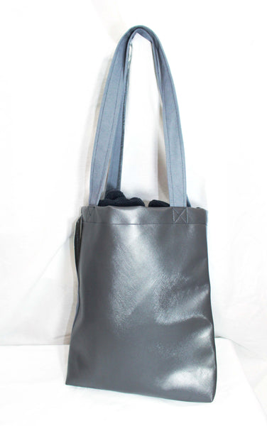 """OG Cochino"" Logo Grey Canvas Tote with Grey Vinyl Back"