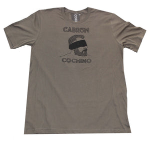 """Blindfold"" Cabrón Cochino Logo T-shirt in Steel Grey"