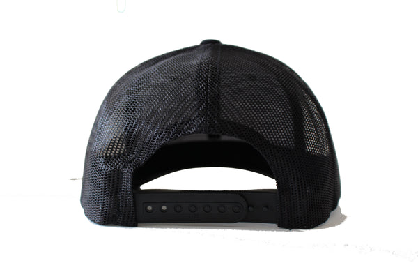 Cochino Curved Brim Hat with Large Logo - Black on Black