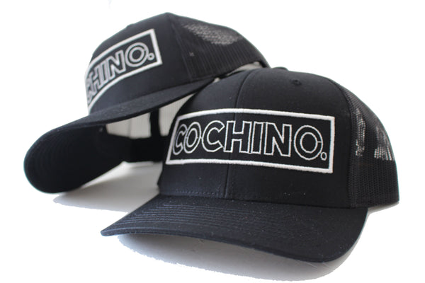 Cochino Curved Brim Hat with Large Logo - White on Black