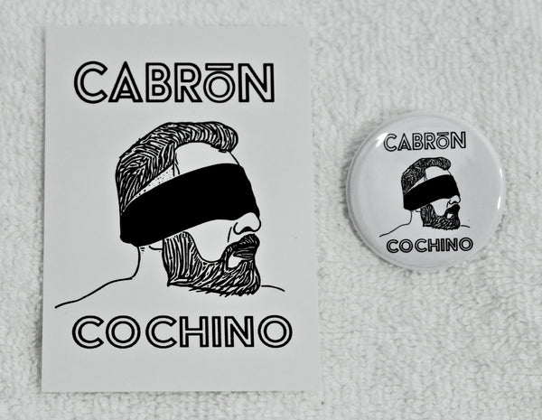 "Cabrón Cochino ""Blindfold"" Logo 1 1/2"" Metal Pin"