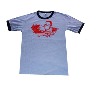 """Brown Sugar"" T-shirt in Light Blue/Dark Blue with Red Ink/Image"