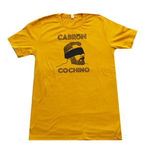 """Blindfold"" Cabrón Cochino Logo T-shirt in Mustard"