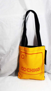 """OG Cochino"" Logo Designer Yellow Fabric Tote with Denim Back and Straps"