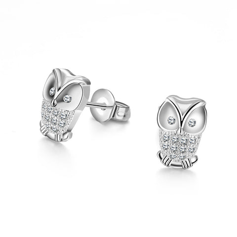 Owl Studded Earrings - 18K White Gold Plated