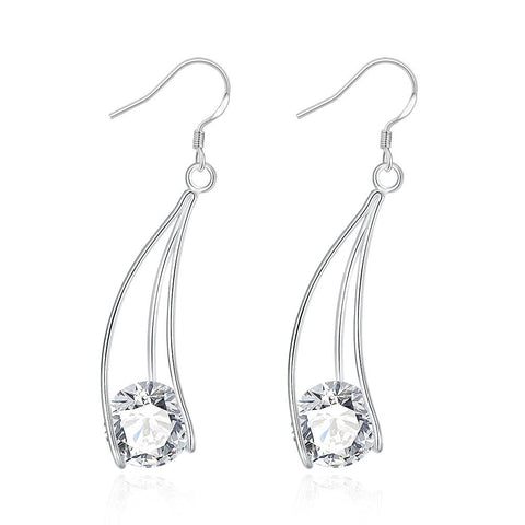 Crystal Drop Earring - 18K White Gold Plated