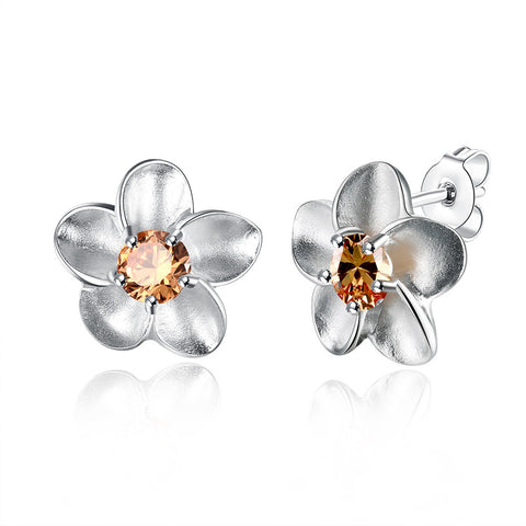 Orange Citrine Ivory Onyx Floral Earring - 18K White Gold Plated