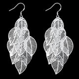 Leaf Branch Earring - 18K White Gold Plated