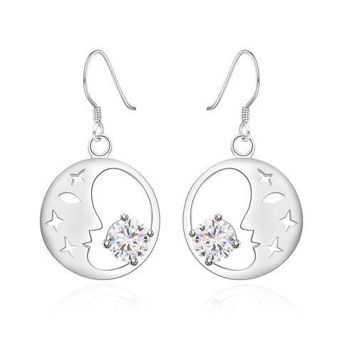 Good Night World Earring - 18K White Gold Plated
