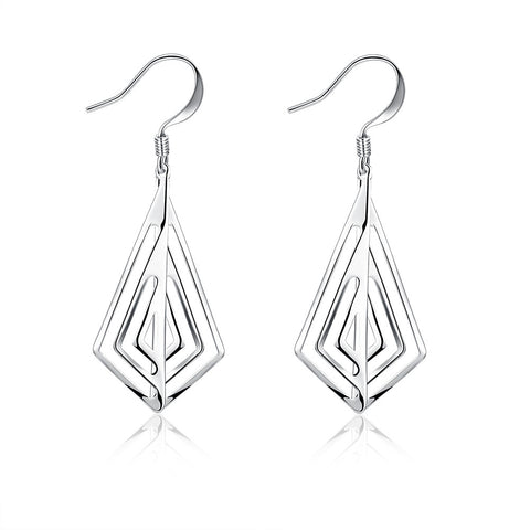 Laser Cut Triangular Drop Earring - 18K White Gold Plated